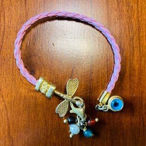 Pink cord bracelet gold tone dragonfly & evil eye